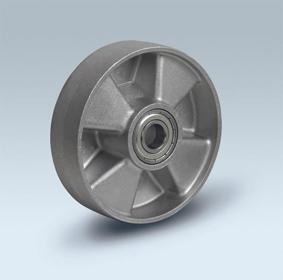 Ruote serie U Ruote monolitiche in alluminio idonee per alte temperature (-40°C / +270°C). Disponibili con cuscinetti a sfere standard o inox Ruota con cuscinetti a sfere.