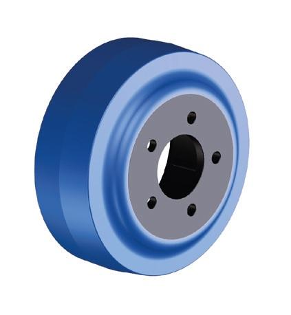 Ruote serie ZO Ruote motrici in poliuretano soffice durezza 87+/-3 Sh.A. La portata è riferita ad una velocità di 6 km/h. <br/>N.5 fori diametro 11 mm su raggio di 46 mm.