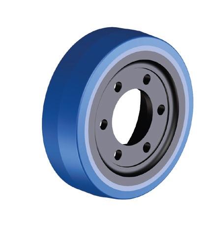 Ruote serie ZO Ruote motrici in poliuretano soffice durezza 87+/-3 Sh.A. La portata è riferita ad una velocità di 6 km/h. <br/>N.6 fori diametro 14 mm su raggio di 56 mm.