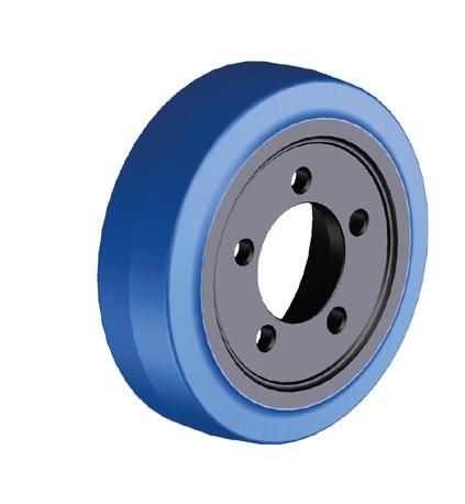 Ruote serie ZO Ruote motrici in poliuretano soffice durezza 87+/-3 Sh.A. La portata è riferita ad una velocità di 6 km/h. <br/>N.5 fori diametro 15 mm su raggio di 56 mm.