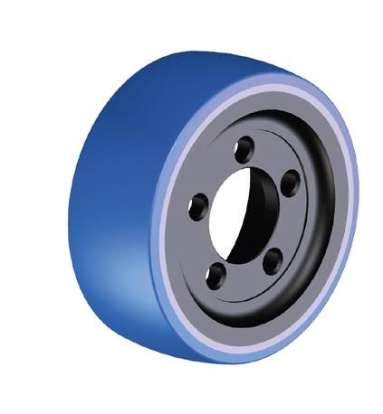 Ruote serie ZO Ruote motrici in poliuretano soffice durezza 87+/-3 Sh.A. La portata è riferita ad una velocità di 6 km/h. <br/>N.5 fori diametro 18,5 mm su raggio di 56 mm.