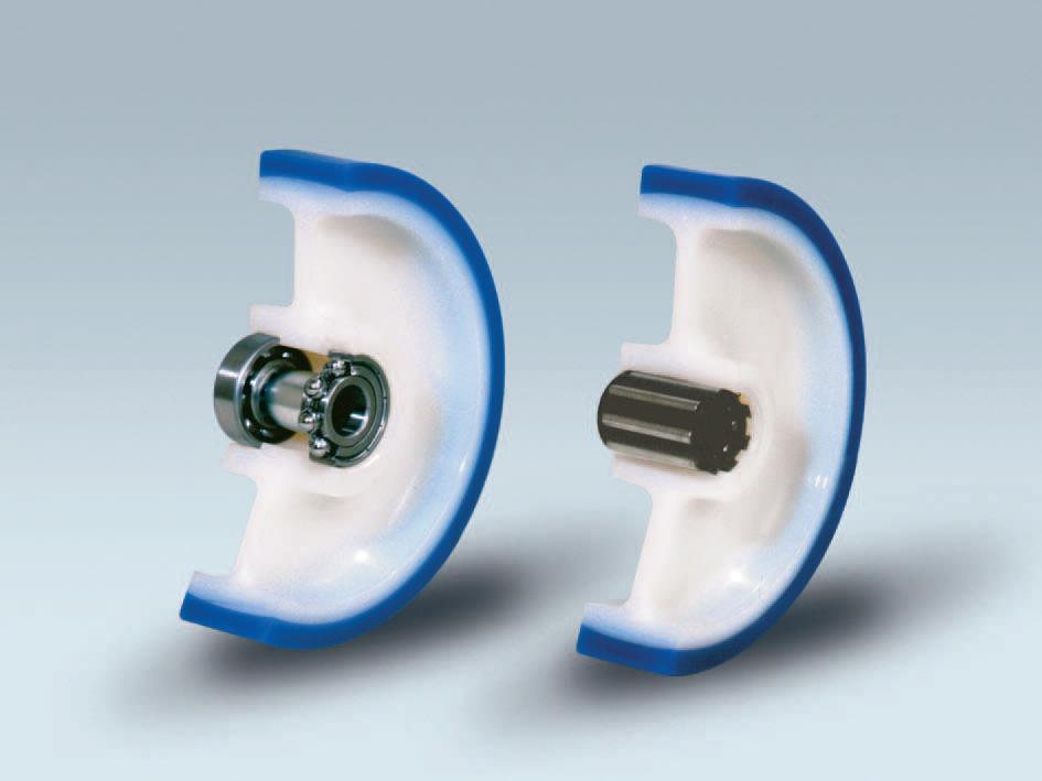 Ruote serie AS ADINYL SOFT - Ruote con rivestimento in poliuretano soft 87 Sh.A . con mozzo in polyammide 6.