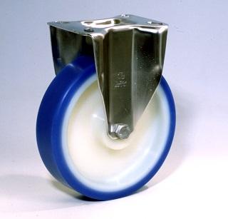 Ruote serie AS con supporto INOX20 Ruote con rivestimento in poliuretano soft 87 Sh.A . con mozzo in polyammide 6. Organo di rotolamento: cuscinetto a rullini inox.