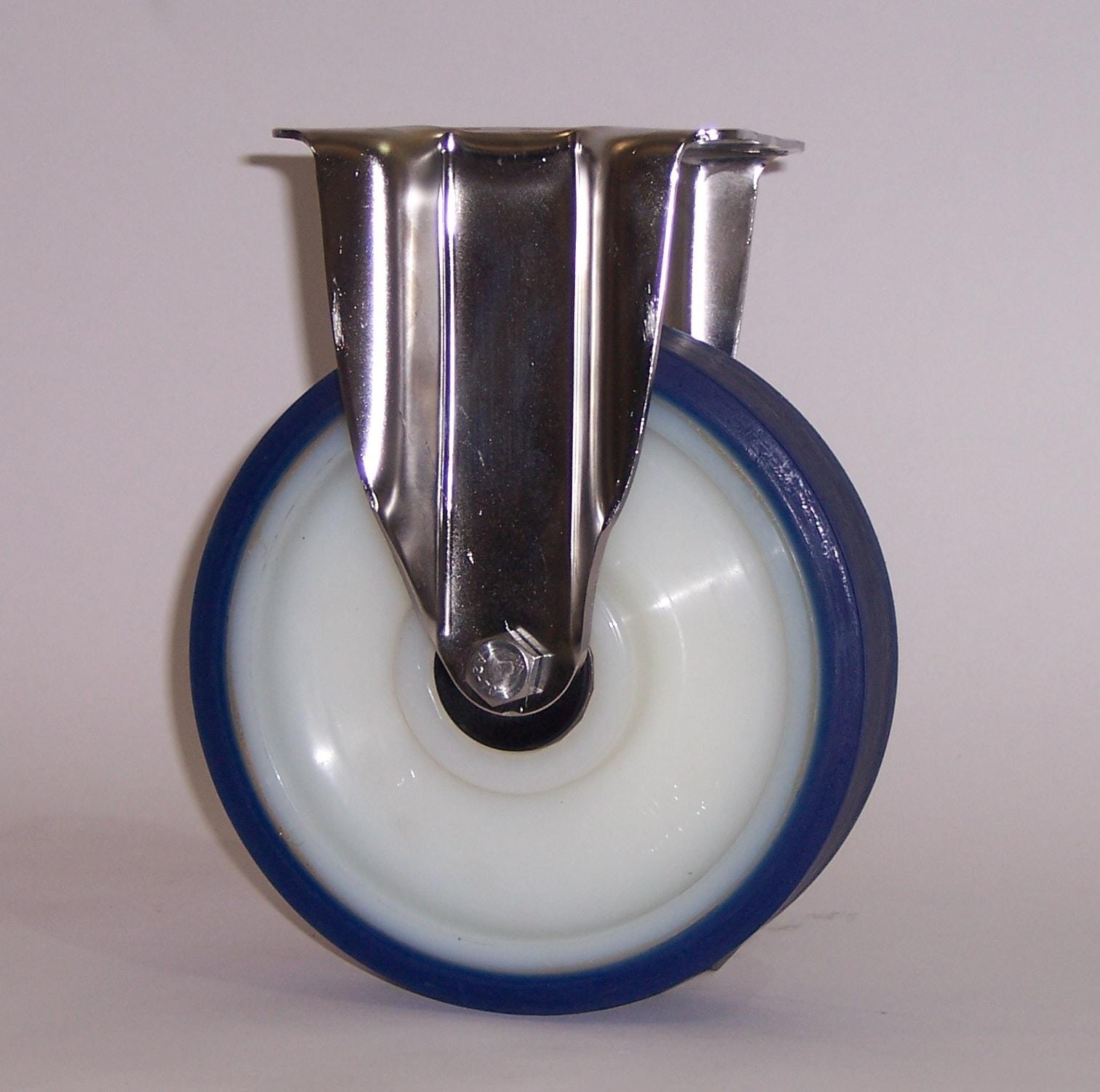 Ruote serie AS con supporto INOX40 Ruote con rivestimento in poliuretano soft 87 Sh.A . con mozzo in polyammide 6. Ruota con cuscinetti a sfere di precisione in inox a tenuta stagna (2RS).