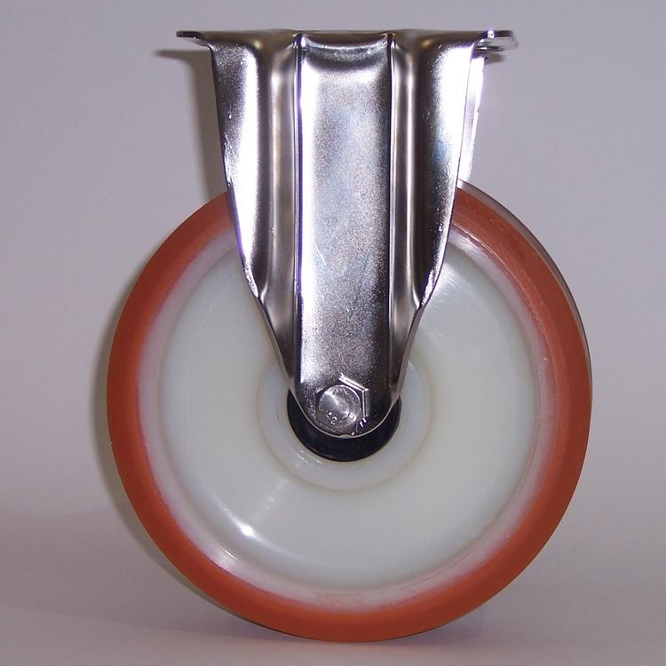 Ruote serie A con supporto INOX40 Ruote in poliuretano colato 95 Sh.A. con mozzo in polyammide 6. Organo di rotolamento: cuscinetto a rullini inox.