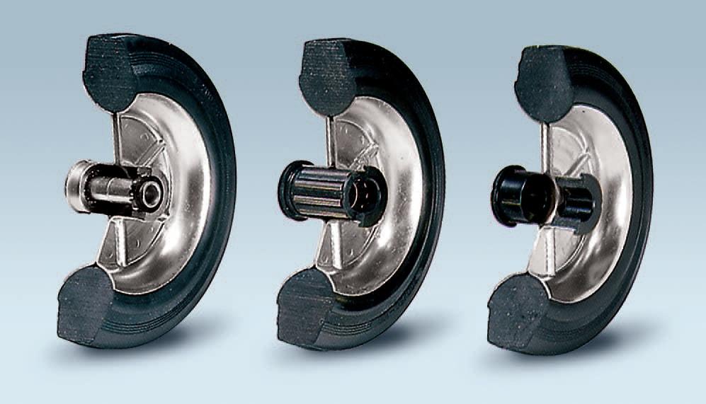Ruote serie B BETA - Ruote con anello in gomma nera e dischi in lamiera saldata, disponibili con cuscinetti a sfere, a rullini o a boccola di nylon.
