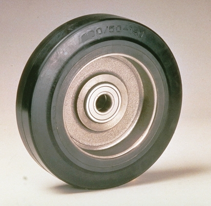 Ruote serie C CARGO - Ruote in gomma nera con mozzo in ghisa o acciaio.