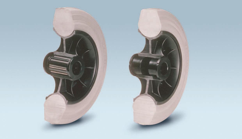 Ruote serie DG DELTA-G - Ruote con anello in gomma grigia elastica e mozzo in materiale termoplastico, disponibili con cuscinetti a rullini standard o inox e con boccole di nylon.