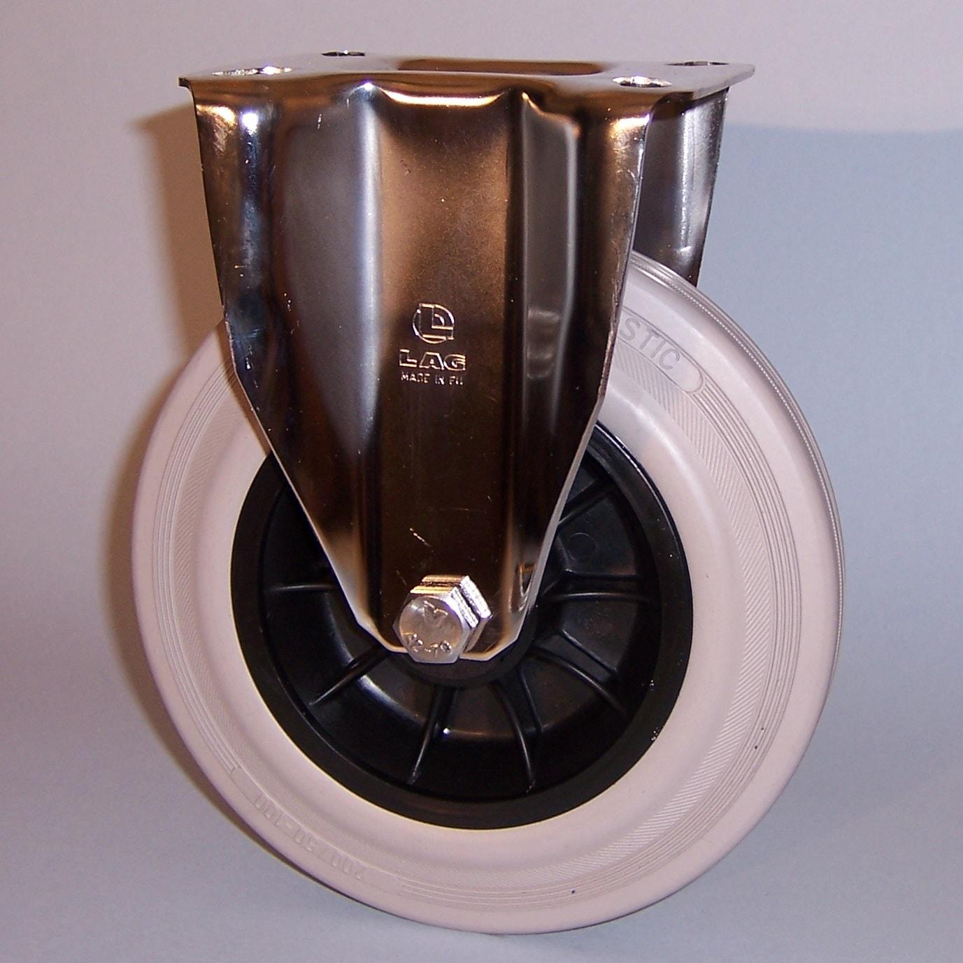 Ruote serie DG con supporto INOX20 Ruote con anello in gomma grigia elastica e mozzo in materiale termoplastico, disponibili con cuscinetti a rullini standard o inox e con boccole di nylon. Organo di rotolamento: cuscinetto a rullini inox.