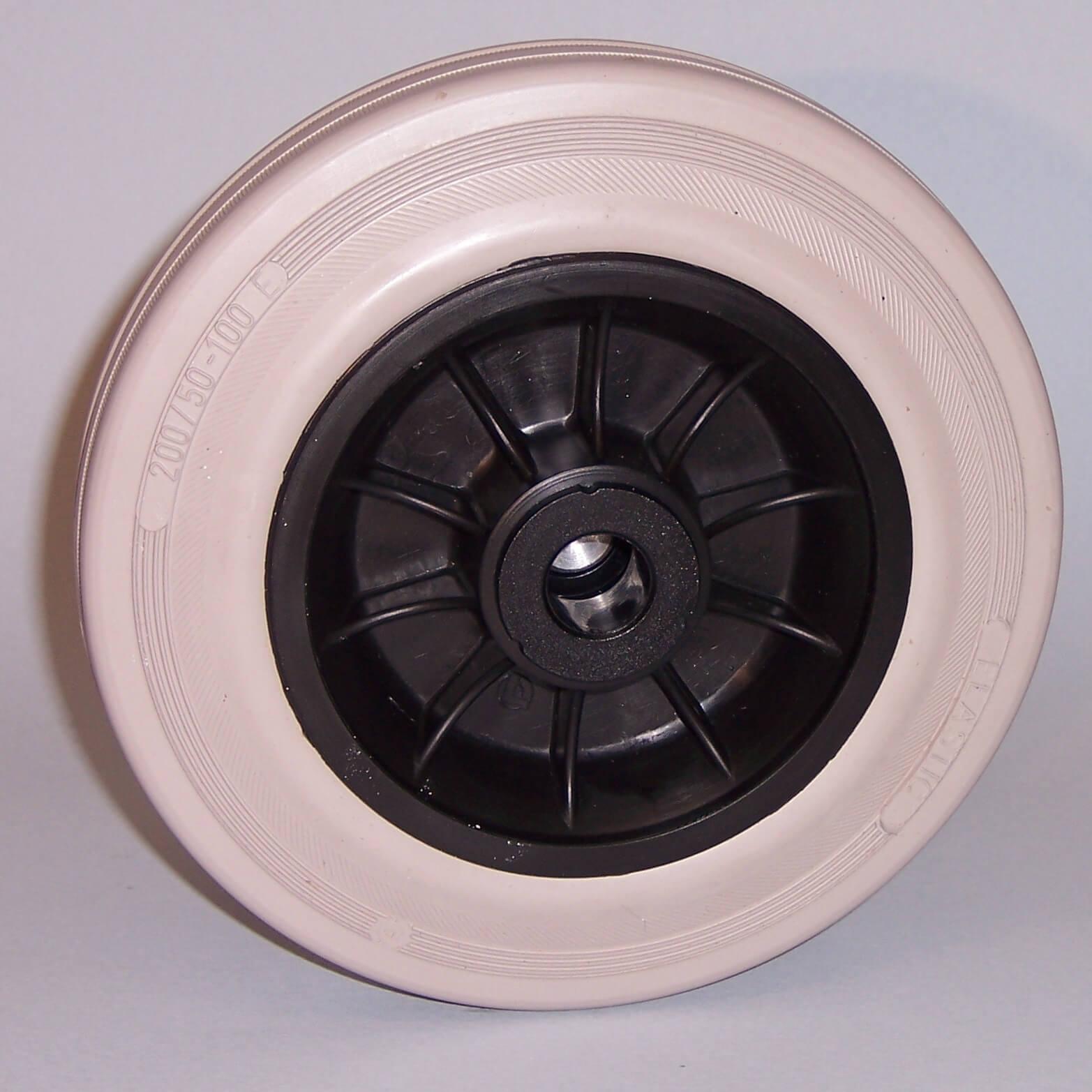 Ruote serie DG Ruote con anello in gomma grigia elastica e mozzo in materiale termoplastico, disponibili con cuscinetti a rullini standard o inox e con boccole di nylon. Organo di rotolamento: cuscinetto a rullini inox.