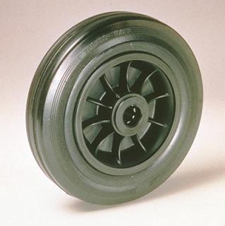 Ruote serie D Ruote con anello in gomma nera, mozzo in materiale termoplastico disponibili con cuscinetti rullini o con boccole di nylon. Organo di rotolamento: cuscinetto a rullini.
