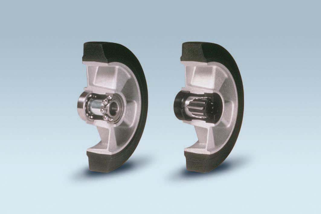 Ruote serie E ELASTIC - Ruote in gomma elastica nera e mozzo in alluminio pressofuso. Disponibili con cuscinetti a sfere o rullini.