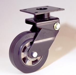 Ruote serie E con supporto M34 Ruote in gomma elastica nera e mozzo in alluminio pressofuso. Disponibili con cuscinetti a sfere o rullini. Organo di rotolamento: cuscinetto a rullini.