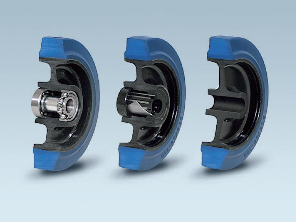 Ruote serie LB LAMBDA-B - Ruote in gomma elastica antitraccia blu con mozzo in polyammide 6 neroo. Disponibili con cuscinetti a sfere di precisione schermati o inox a tenuta st agna; rullini standard o inox o a foro passante.