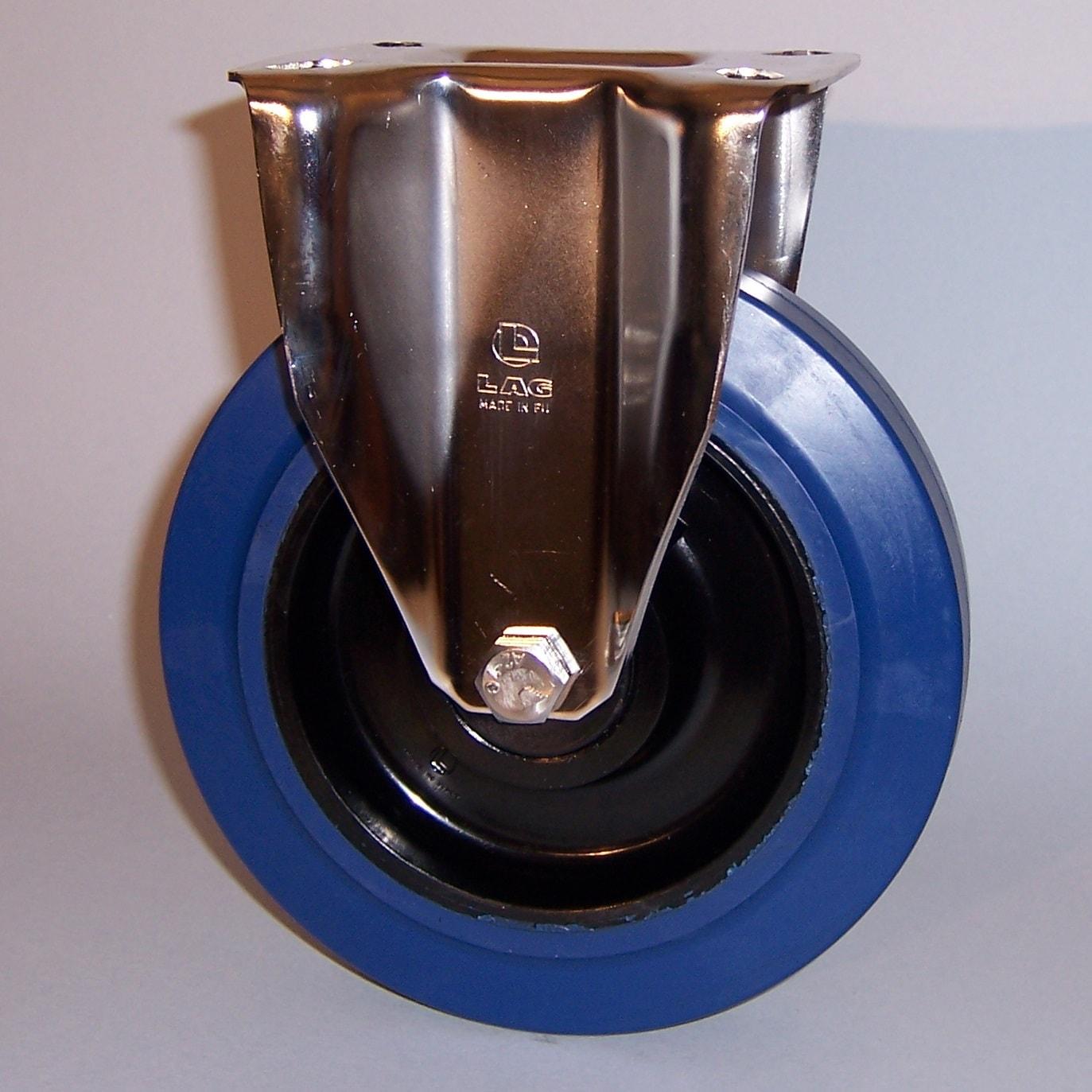 Ruote serie LB con supporto INOX20 Ruote in gomma elastica antitraccia blu con mozzo in polyammide 6 neroo. Disponibili con cuscinetti a sfere di precisione schermati o inox a tenuta st agna; rullini standard o inox o a foro passante. Organo di rotolamento: cuscinetto a rullini inox.