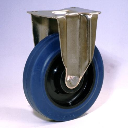 Ruote serie LB con supporto INOX40 Ruote in gomma elastica antitraccia blu con mozzo in polyammide 6 neroo. Disponibili con cuscinetti a sfere di precisione schermati o inox a tenuta st agna; rullini standard o inox o a foro passante. Organo di rotolamento: cuscinetto a rullini inox.