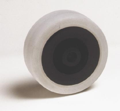 Ruote serie M Ruote per mobilio e per arredamento interni. Ruota a foro passante.<br/>Ruota con battistrada in gomma grigia antitraccia e nucleo in materiale termoplastico nero.