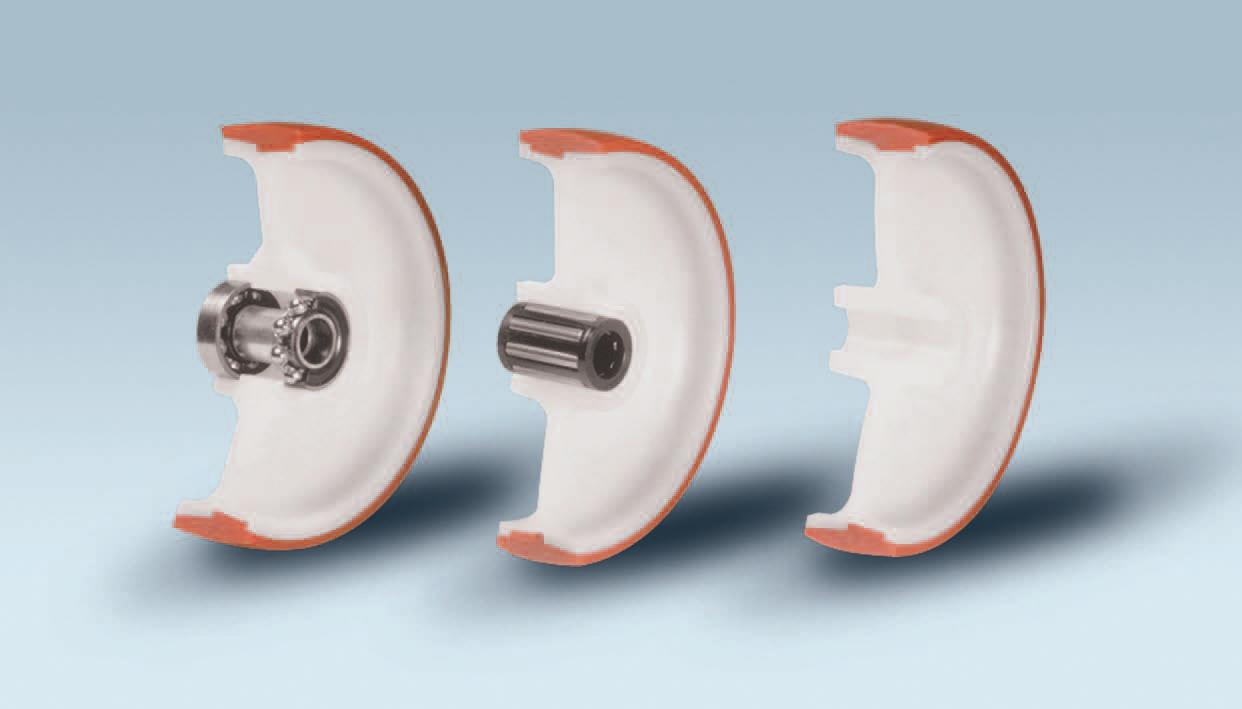 Ruote serie N NYLPOL - Ruote in poliuretano termoplastico 58 Sh.D. con con mozzo in polyammide 6. Disponibili con cuscinetti a sfere di precisione schermati o inox a rullini standard o inox e foro passante.