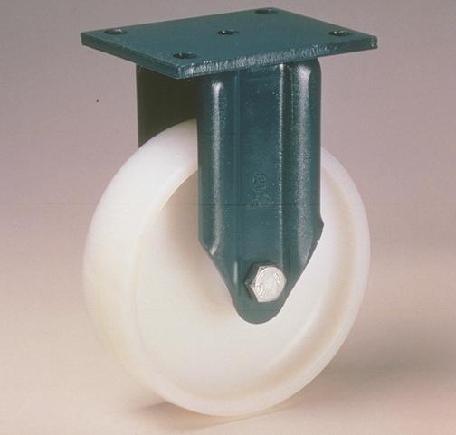 Ruote serie P con supporto E70 Ruote monolitiche in polyammide 6 disponibili con cuscinetti a sfere di precisione schermati o inox, rullini standard o inox e a foro passante. Ruota a foro passante.