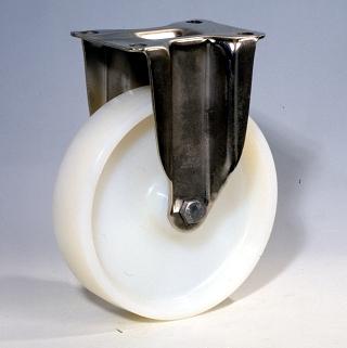 Ruote serie P con supporto INOX40 Ruote monolitiche in polyammide 6 disponibili con cuscinetti a sfere di precisione schermati o inox, rullini standard o inox e a foro passante. Ruota con cuscinetti a sfere di precisione in inox a tenuta stagna (2RS).