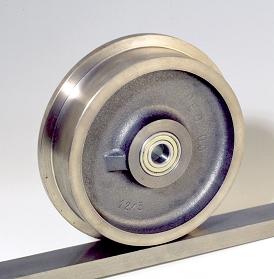 Ruote serie QD Ruote decauville in ghisa, flangiate per binario con fascia piana e con cuscinetti a sfere. Ruota con cuscinetti a sfere.
