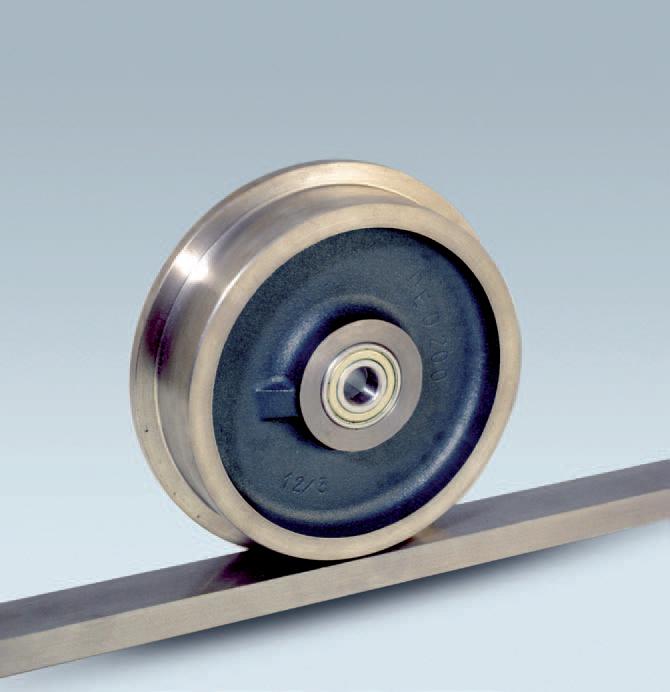 Ruote serie QD QUANTUM-DECA - Ruote decauville in ghisa, flangiate per binario con fascia piana e con cuscinetti a sfere.
