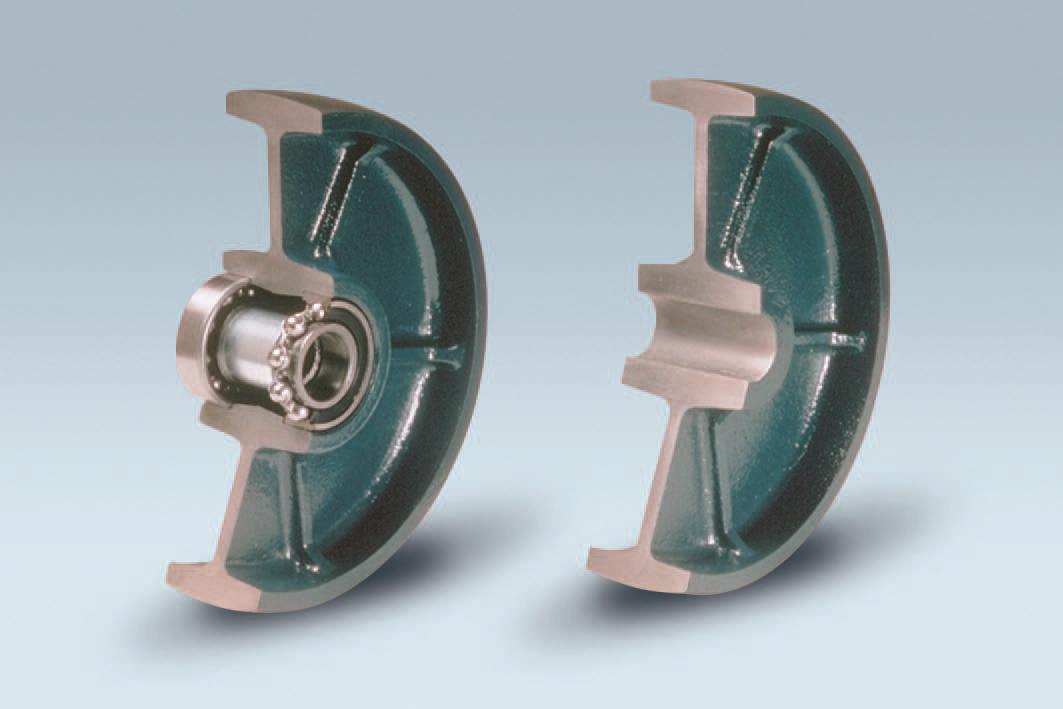 Ruote serie Q QUANTUM - Ruote in ghisa con cuscinetti a sfere o a foro passante.