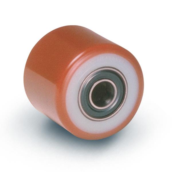Ruote serie RN ROLL-NYLPOL - Rulli transpallet in poliuretano termoplastico 53 Sh.D. con mozzo in polyammide. Disponibili con o senza cuscinetti a sfere schermati o inox.