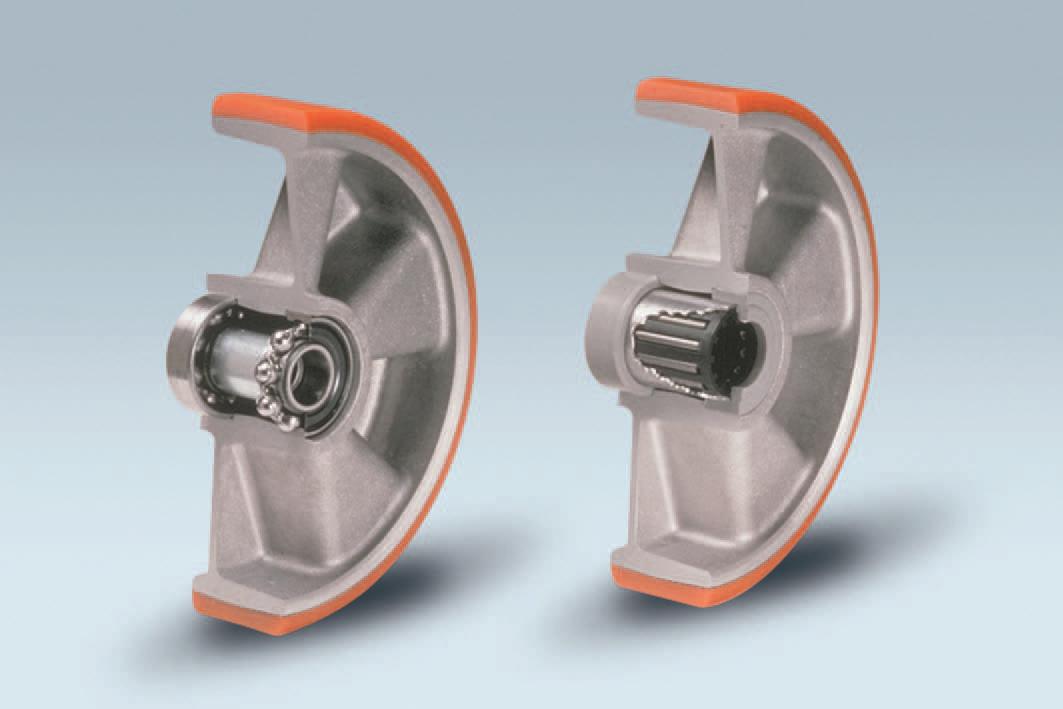 Ruote serie T TAU - Ruote con battistrada in poliuretano colato 95Sh.A e mozzo in alluminio pressofuso; disponibili con cuscinetti a sfere o a rullini.