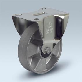 Ruote serie U con supporto INOX20 Ruote monolitiche in alluminio idonee per alte temperature (-40°C / +270°C). Disponibili con cuscinetti a sfere standard o inox Ruota con cuscinetti a sfere di precisione in inox a tenuta stagna (2RS).
