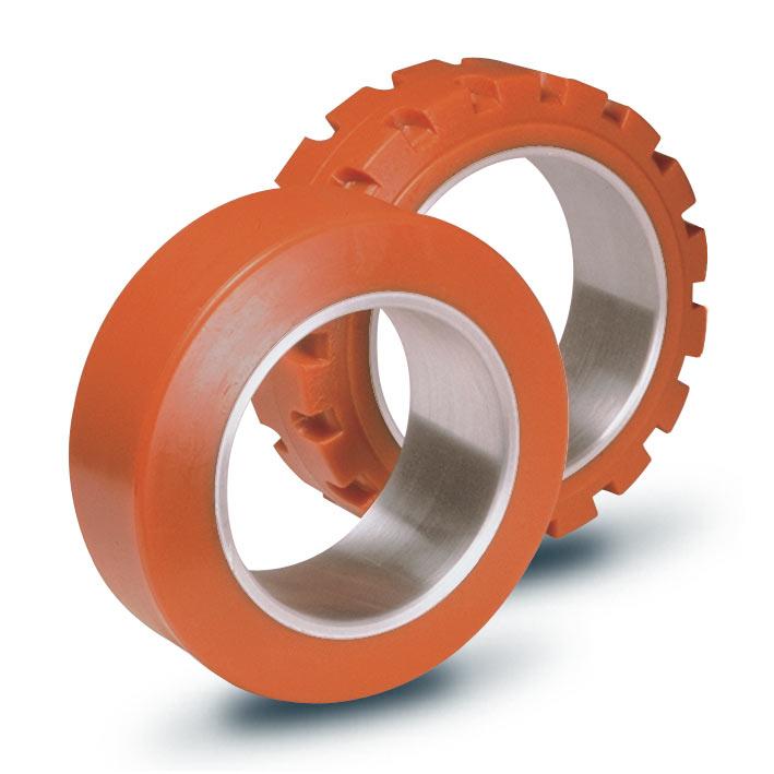 Ruote serie ZC ZETA-CIL - Anelli cilindrici in poliuretano per calettamento su mozzi in ghisa. Durezza rivestimento 95+/-3Sh.A La portata è riferita ad una velocità di 6 km/h.