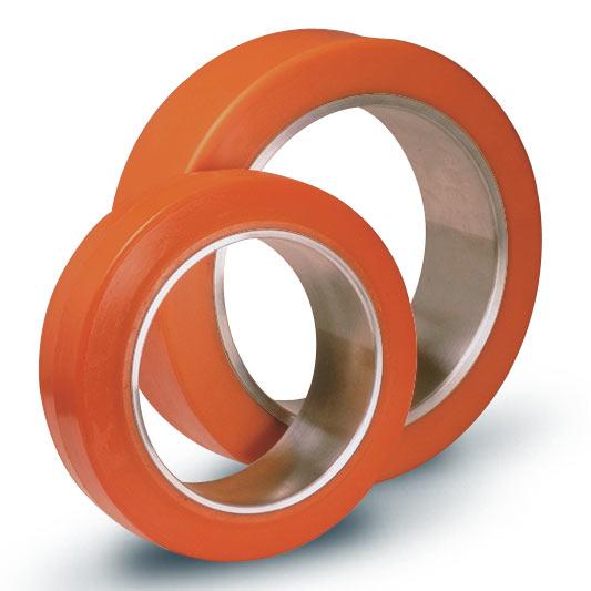 Ruote serie ZC Anelli cilindrici in poliuretano per calettamento su mozzi in ghisa. Durezza rivestimento 95+/-3Sh.A La portata è riferita ad una velocità di 6 km/h.