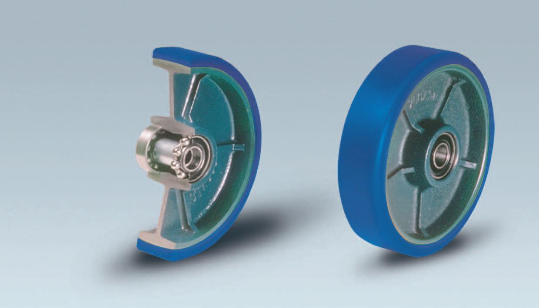 Ruote serie ZS ZETA SOFT - Ruote in poliuretano colato 87 Sh.A tipo soft con mozzo in ghisa. Disponibile con cuscinetti a sfere di precisione schermati.