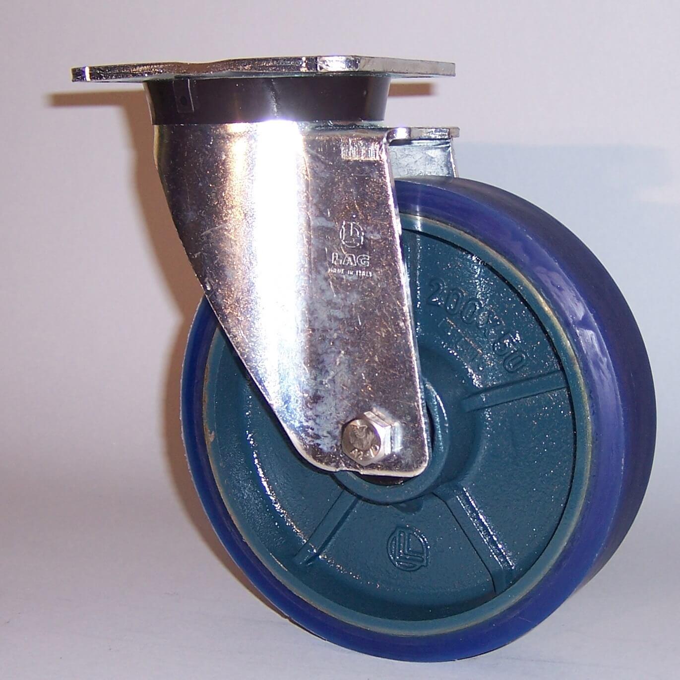 Ruote serie ZS con supporto P60 Ruote in poliuretano colato 87 Sh.A tipo soft con mozzo in ghisa. Disponibile con cuscinetti a sfere di precisione schermati. Ruota con cuscinetti a sfere.