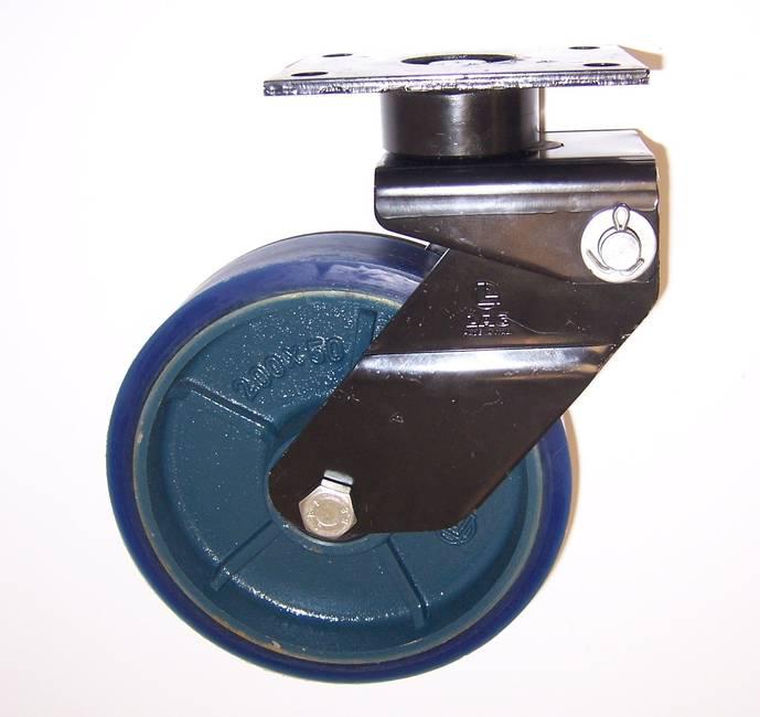 Ruote serie ZS con supporto M34 Ruote in poliuretano colato 87 Sh.A tipo soft con mozzo in ghisa. Disponibile con cuscinetti a sfere di precisione schermati. Ruota con cuscinetti a sfere.