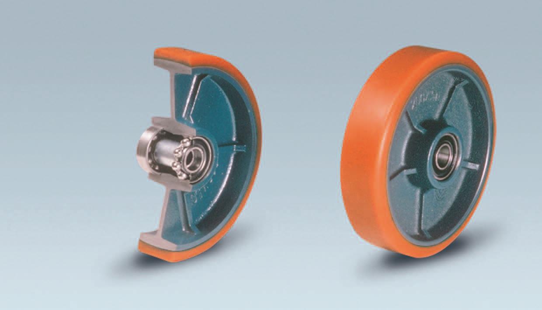 Ruote serie Z ZETA - Ruote in poliuretano colato 95 Sh.A. e mozzo in ghisa. Disponibili con cuscinetti a sfere di precisione schermati.