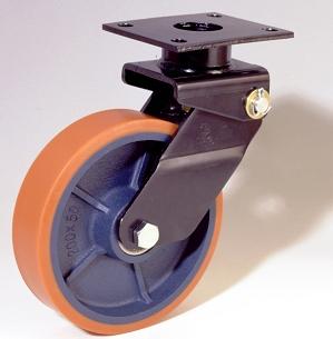 Ruote serie Z con supporto M34 Ruote in poliuretano colato 95 Sh.A. e mozzo in ghisa. Disponibili con cuscinetti a sfere di precisione schermati. Ruota con cuscinetti a sfere.