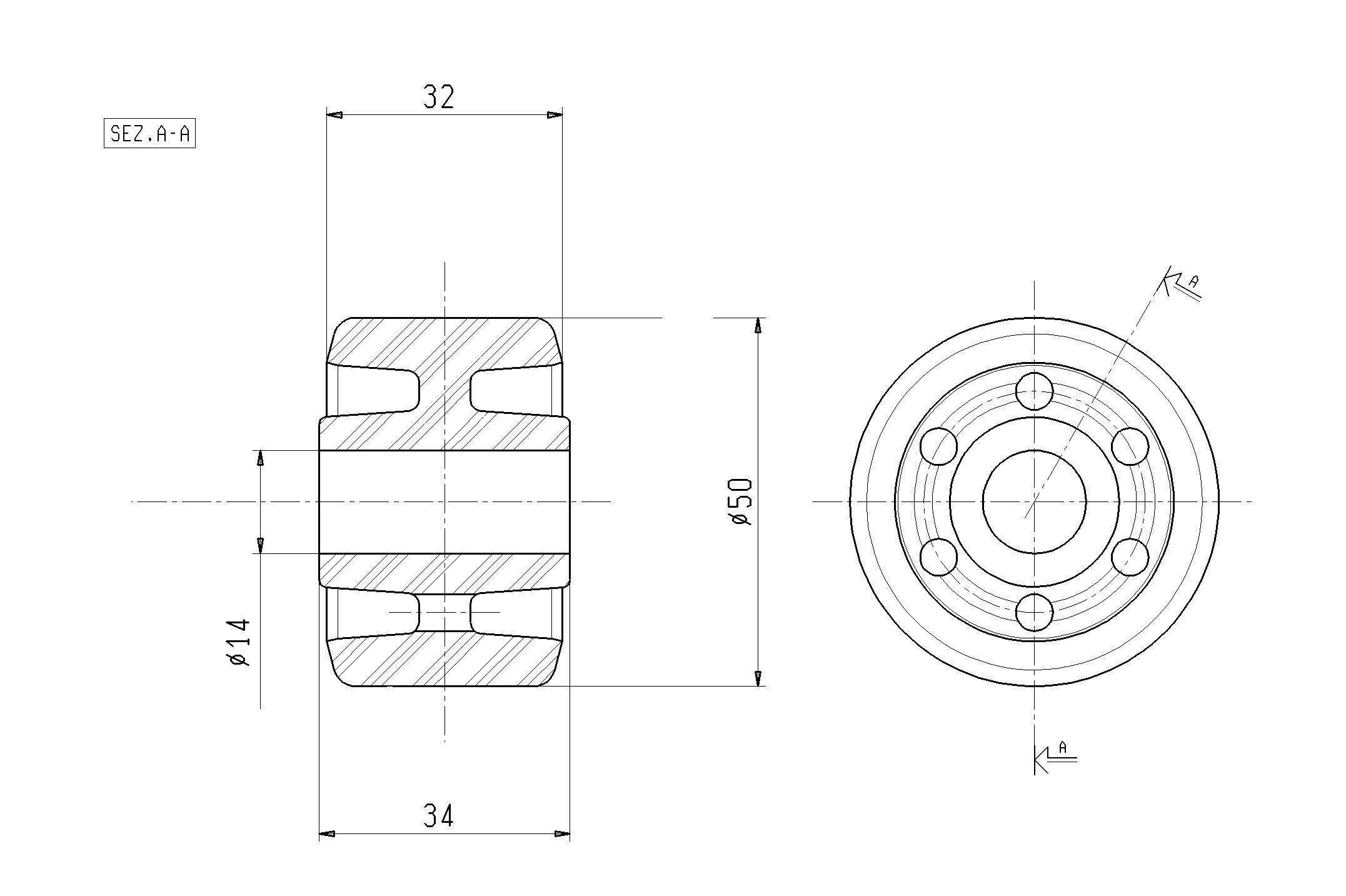 Ruote serie RP Rulli transpallet monolitici in polyammide 6 disponibili con o senza i cuscinetti a sfere schermati o inox. Ruota a foro passante.
