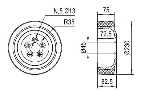 Ruote serie ZO Ruote motrici in poliuretano soffice durezza 87+/-3 Sh.A. La portata è riferita ad una velocità di 6 km/h. <br/>N.5 fori diametro 13 mm su raggio di 35 mm.