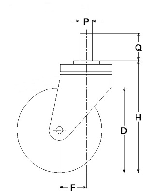 Ruote serie M con supporto M22 Ruote per mobilio e per arredamento interni. Ruota a foro passante.<br/>Ruota in nylon nero a foro passante su supporto con codolo filettato.