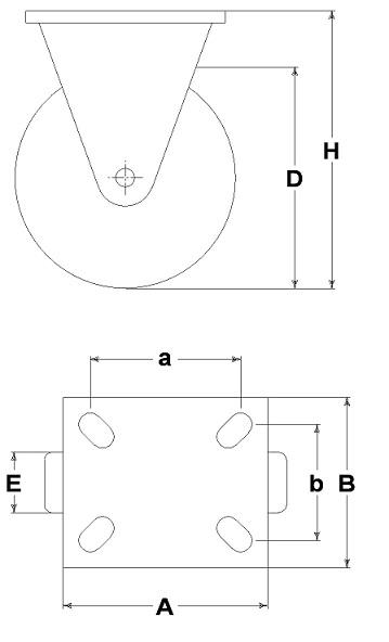 Ruote serie M con supporto M22 Ruote per mobilio e per arredamento interni. Ruota a foro passante.<br/>Ruota con battistrada in gomma grigia e nucleo in materiale termoplastico nero su supporto fisso.