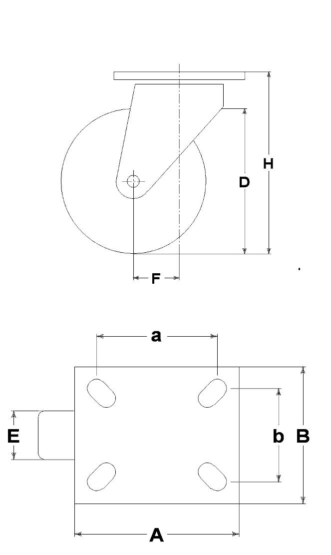 Ruote serie M con supporto M22 Ruote per mobilio e per arredamento interni. Ruota a foro passante.<br/>Ruota in nylon nero a foro passante su supporto a piastra girevole.