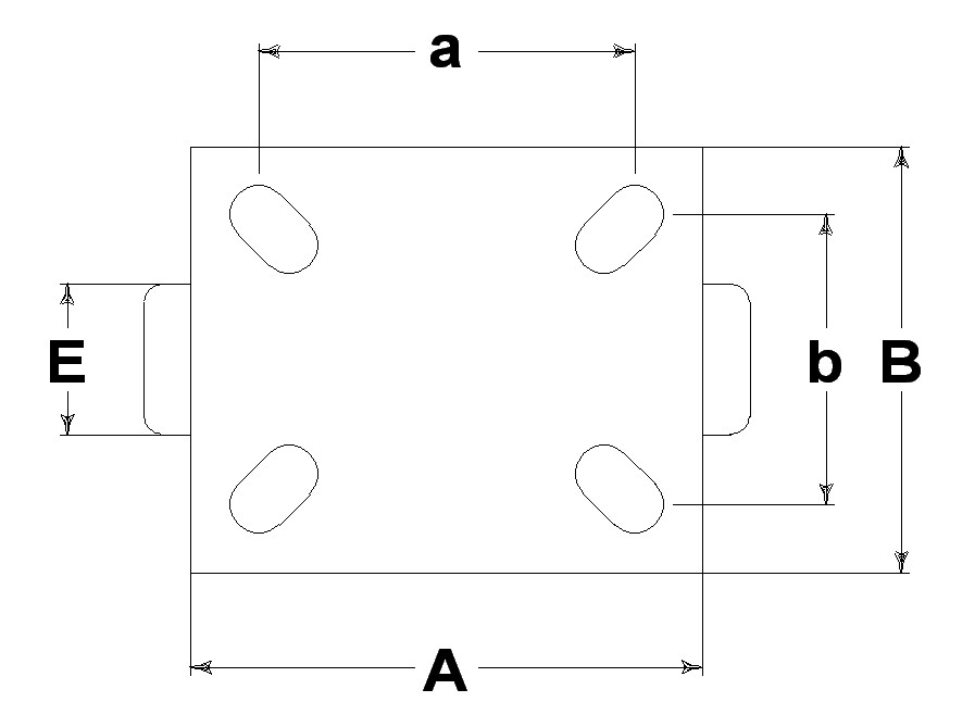 Ruote serie A con supporto M40 Ruote in poliuretano colato 95 Sh.A. con mozzo in polyammide 6. Organo di rotolamento: cuscinetto a rullini.