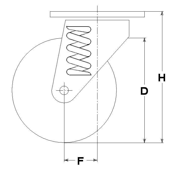 Ruote serie E con supporto M34 Ruote in gomma elastica nera e mozzo in alluminio pressofuso. Disponibili con cuscinetti a sfere o rullini. Ruota con cuscinetti a sfere.<br/>Nucleo in acciaio.